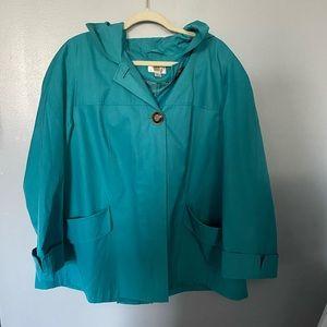 Gallery woman turquoise rain coat 1X